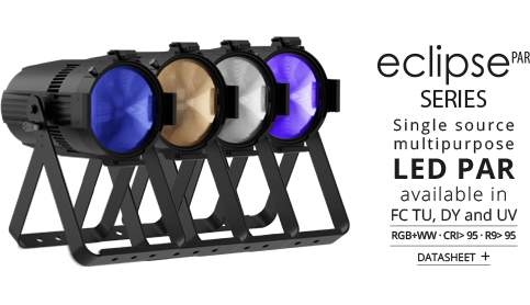 ECLIPSEPAR series Single source multipurpose LED PAR available in FC, TU, DY and UV
